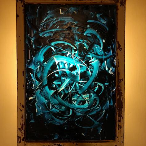 "Canopus, Oil on Glass, 2017, $2100 CAD. 28"" x 34"""