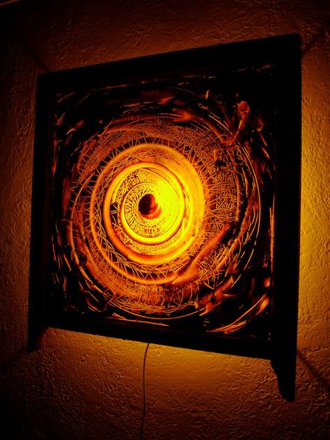 Aurora, oil on glass, 2008, 29 x 33