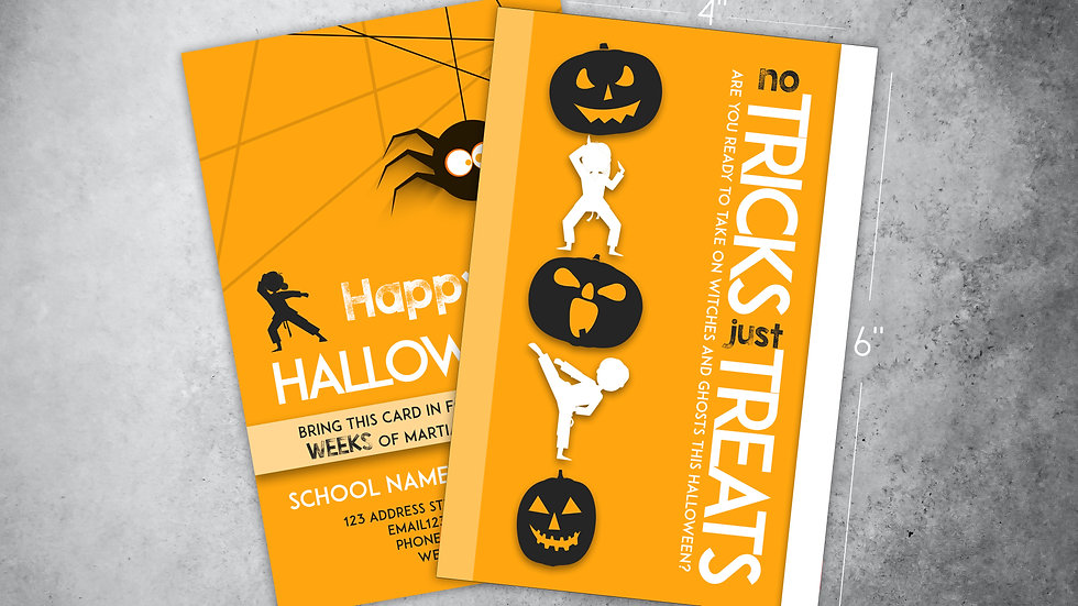"Halloween Ad Card: ""No Tricks, Just Treats"""