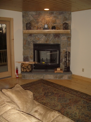 Brook Chalet fireplace