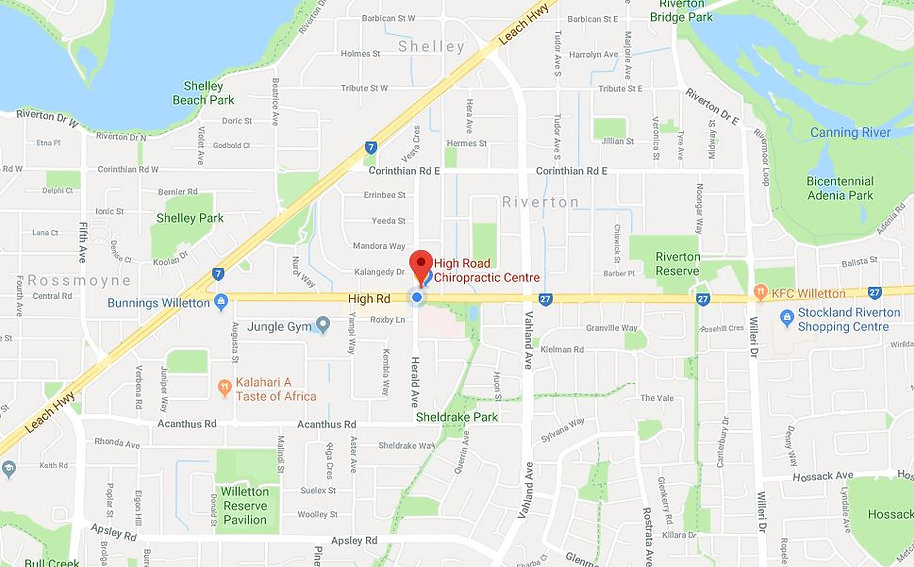 Location of High Road Chirpractic Centre, Riverton Chiropractor