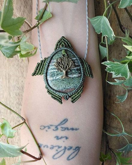 Collier tortue avec Serpentine oeil d'argent