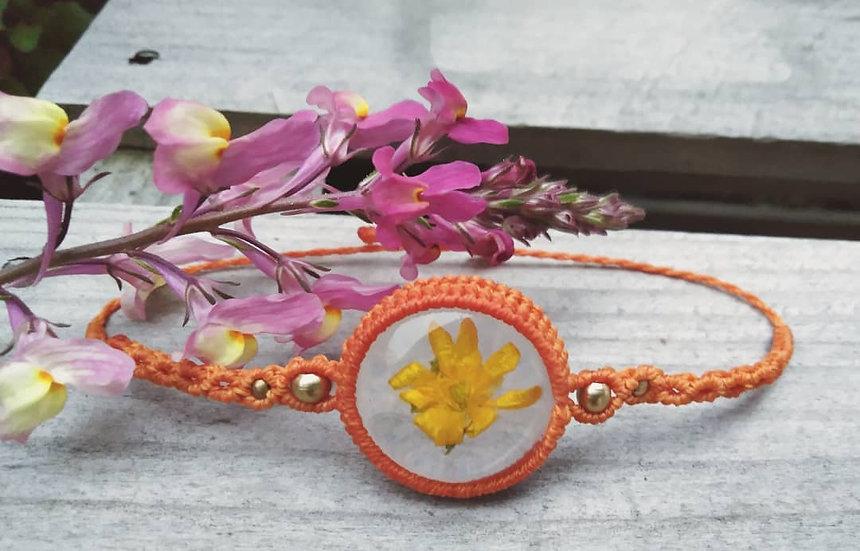 Bracelet avec Fleur dans résine