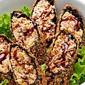 Porção de bastão de salmão empanados
