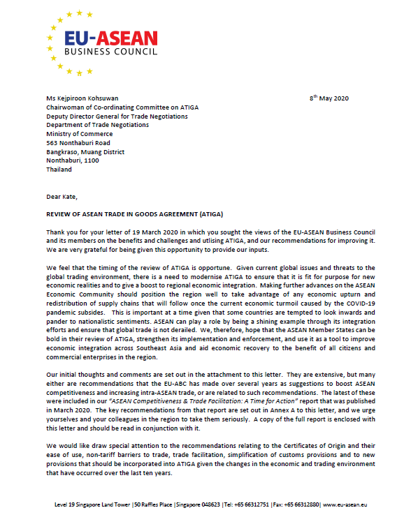 Letter to ASEAN Trade in Goods Agreement (ATIGA) Co-ordinating Committe: EU-ABC's Views on the R