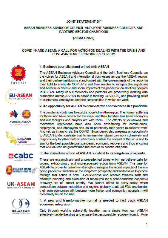 ASEAN Business Advisory Council and Joint Business Councils Call For ASEAN High Level Special Commis