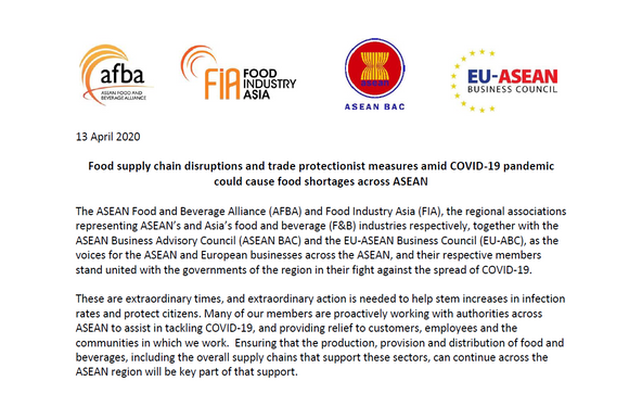 Joint Statement with AFBA, FIA and ASEAN BAC on Food Supply Chain Disruptions