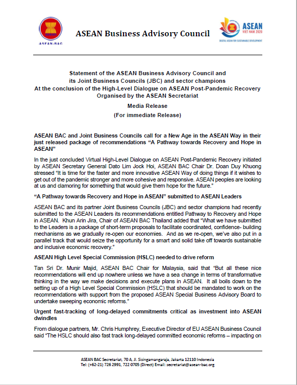 Statement of the ASEAN Business Advisory Council, its Joint Business Councils (JBC) and sector champ