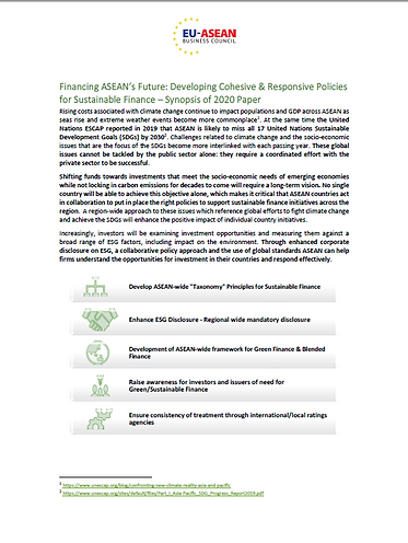 Synopsis-Financing ASEAN's Future: Developing Cohesive & Responsive Policies for Sustainable Finance