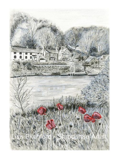 Riverside Cottages - Mounted Print