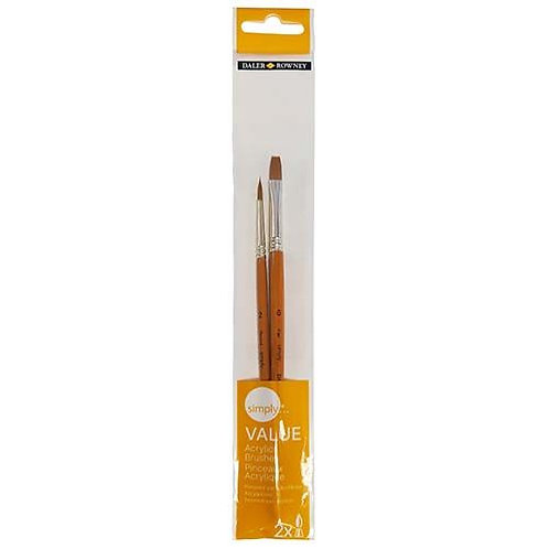 Daler-Rowney Simply Acrylic Value Brush Set 2pk