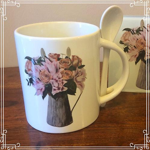 Mug & Spoon - Jug of flowers