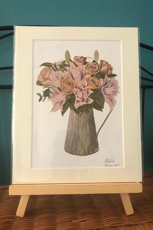 "Jug of flowers - 10""x8"" Mounted Fine Art Print"