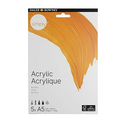Acrylic Paper A5 Daler Rowney x 5 Sheets