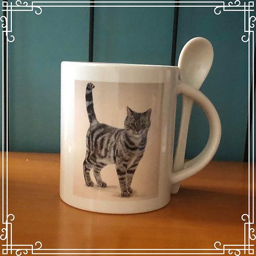 Mug & Spoon - Tabby Cat