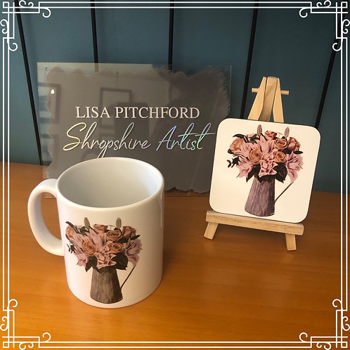 Mug & Coaster Set - Jug of flowers