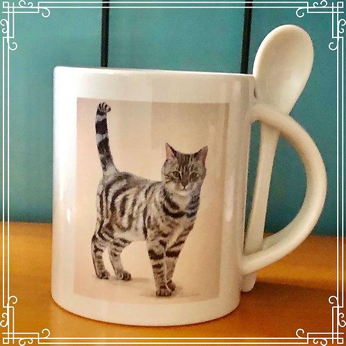 Mug & Spoon with glass coaster - Tabby Cat