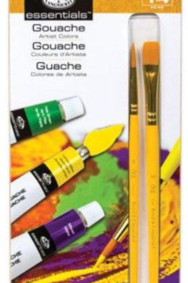 Royal and Langnickel  - 12 Colour Gouache 12ml Artist Paints + 2 Paint Brush Set