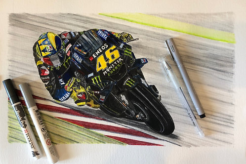 Valentino Rossi Mounted Giclée Print