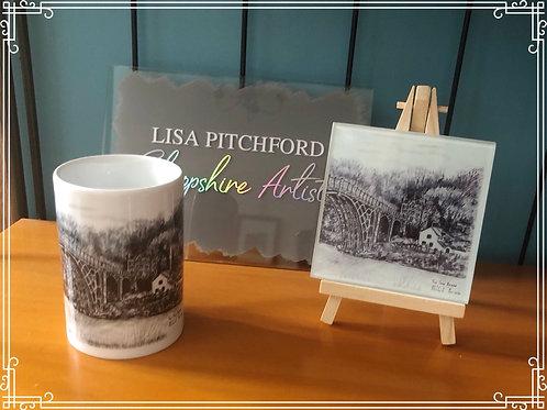 8oz Porcelain Mug & Glass Coaster
