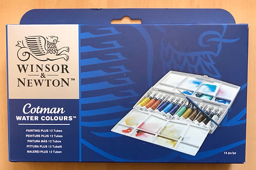 Winsor & Newton Cotman plus set contains 12x8ml tubes of Cotman watercolour