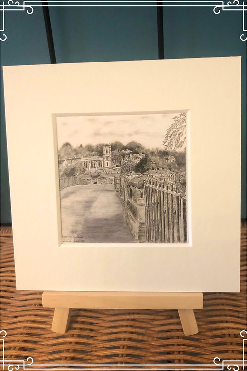 Mini  Mounted fine art print & easel - Across the Ironbridge