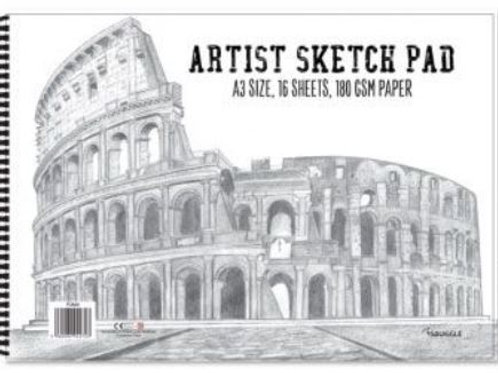 16 Sheet Artists Sketch Pad. Quality 180 GSM Paper