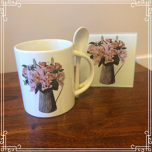 Mug & Spoon with glass coaster - Jug of flowers