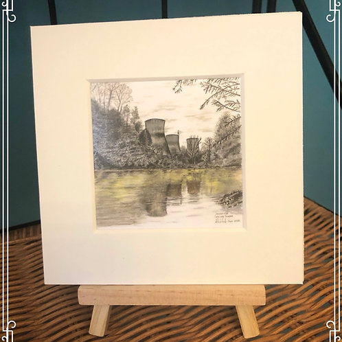 Mini mounted fine art print & easel - Cooling Towers