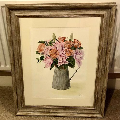 Framed Original - Jug of Flowers