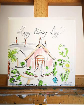 A bespoke hand drawn wedding card for a