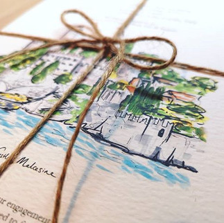 Hand drawn wedding Invitations, particul