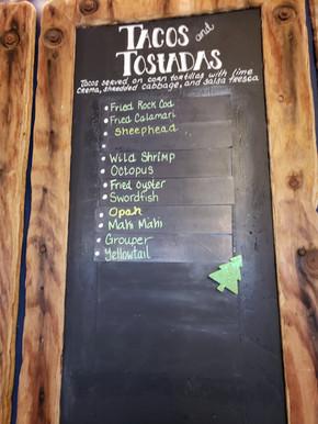 Mitch's Seafood taco menu