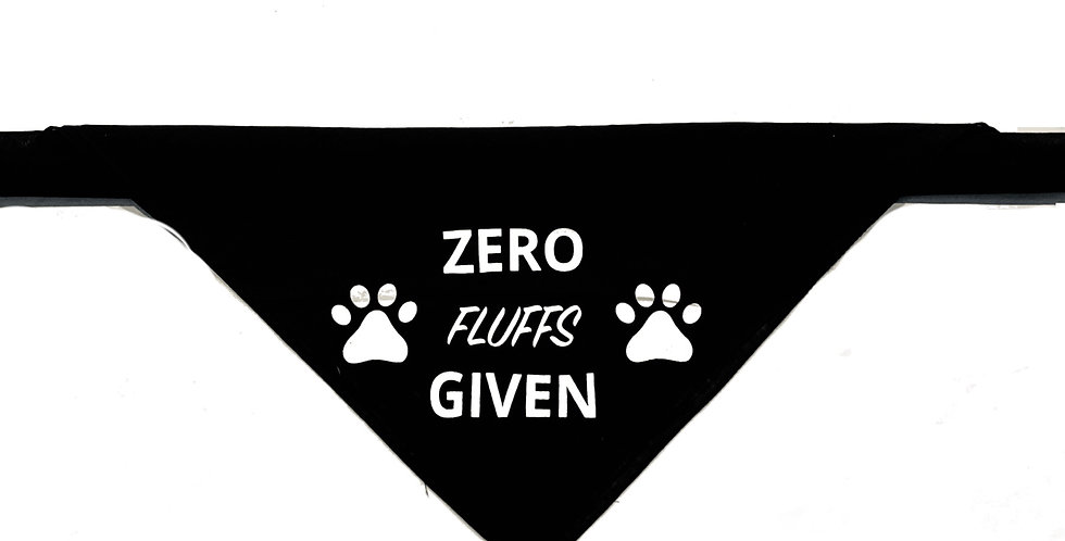 Zero Fluffs Bandana - Black 100% Cotton