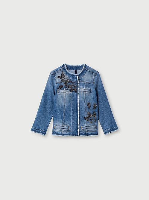 Veste en jean avec applications LIUJO  UA1033D459878151