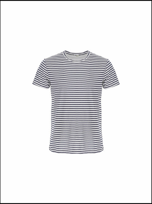 IMPERIAL TSHIRT A COL ROND ESPRIT MARINIERE A RAYURES BLEUES