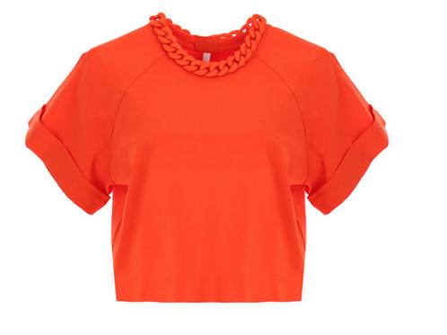 T-shirt court à détail chaîne TM09BTM Orange