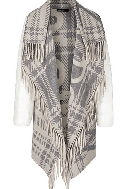 MARC CAIN Veste-cape avec franges PS 14.02 W54 col. 151 Couleur: lighted grey
