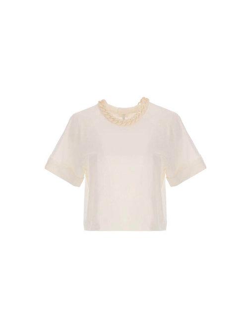 T-shirt court à détail chaîne TM09BTM Blanc