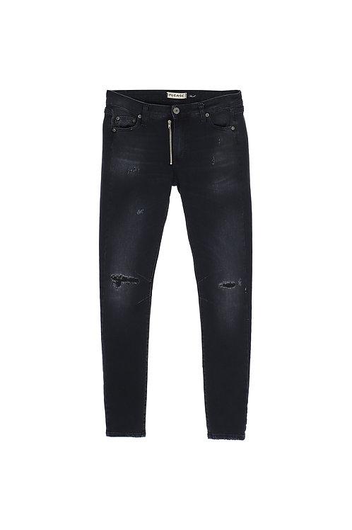 PLEASE Jean skinny à zip asymétrique P1ZSVG0ELT
