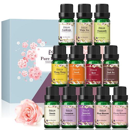 ESSLUX Essential Floral Oils Set,  12 bottles