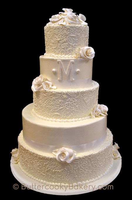 Buttercream Lacework with Monogram and R