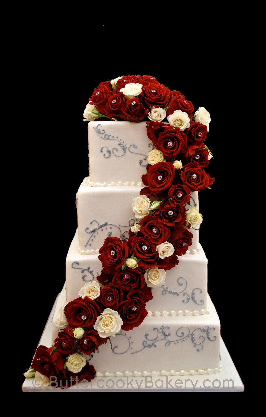 Fresh Flower Cascade with Scrollwork.jpg