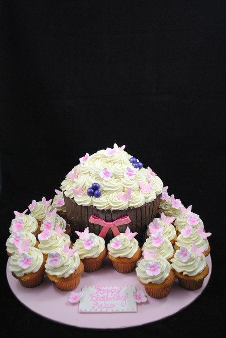 Cupcake Shaped Cake with Butterfly and F