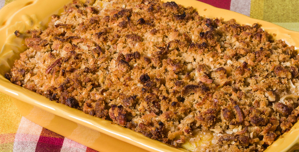 Grated Sweet Potato Pudding with Pecan Crisp Crumbles (serves 8-10)