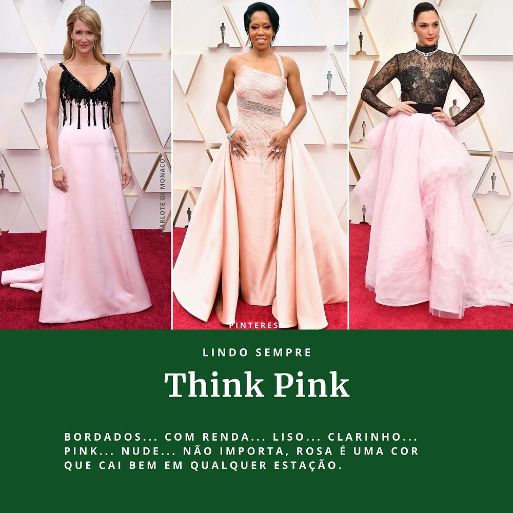 modelos de vestidos rosas usados pelas atrizes do Oscar 2020