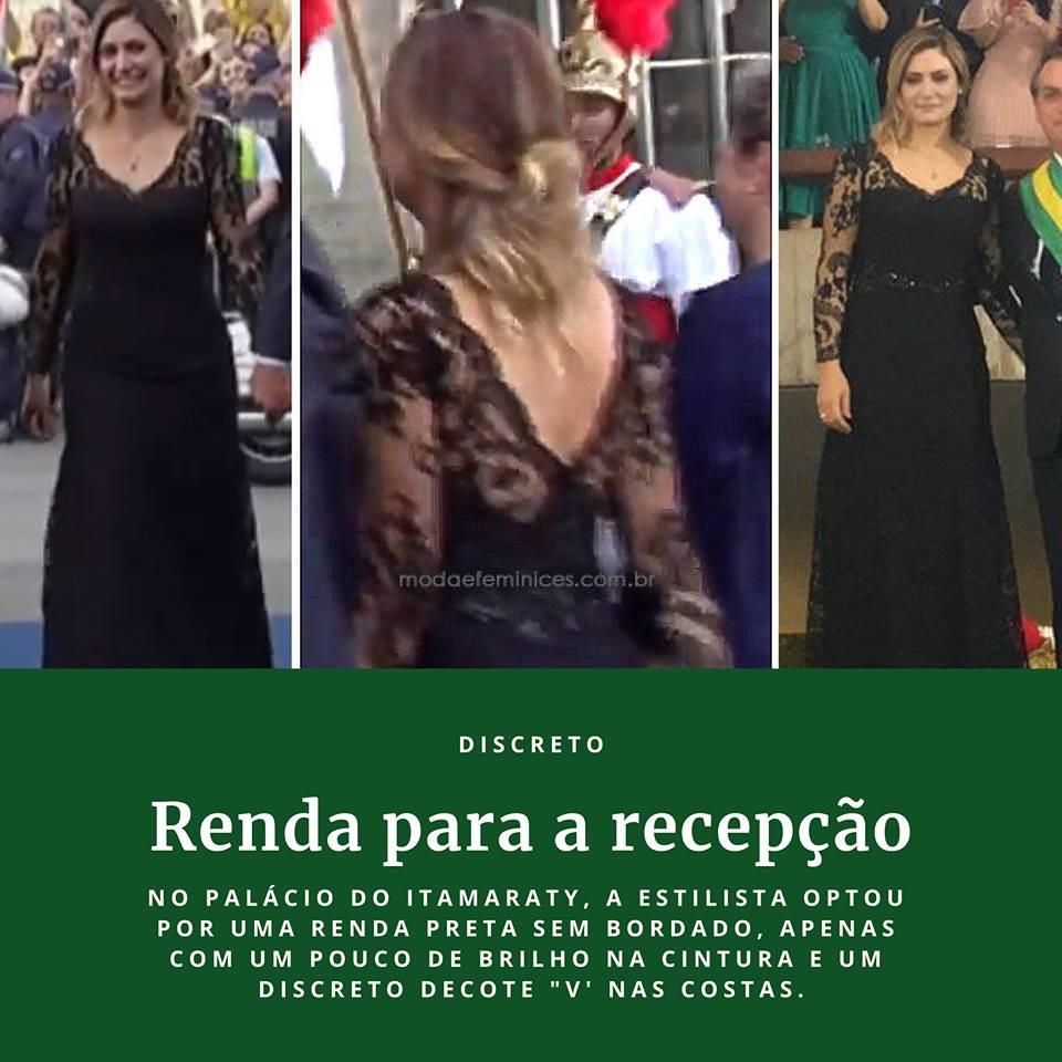 Foto de Michelle Bolsonaro em vestido de renda preta usado no Palácio do Itamaraty