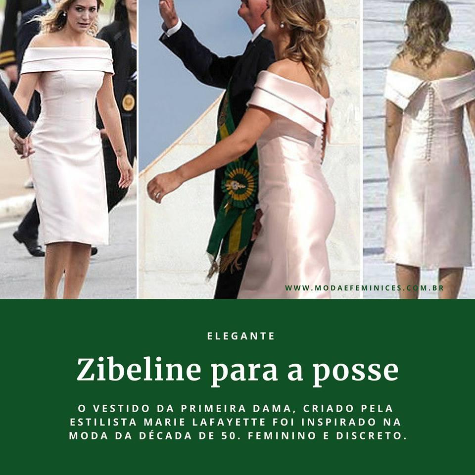 Foto primeira dama Michelle Bolsonaro em vestido de zibeline rosa