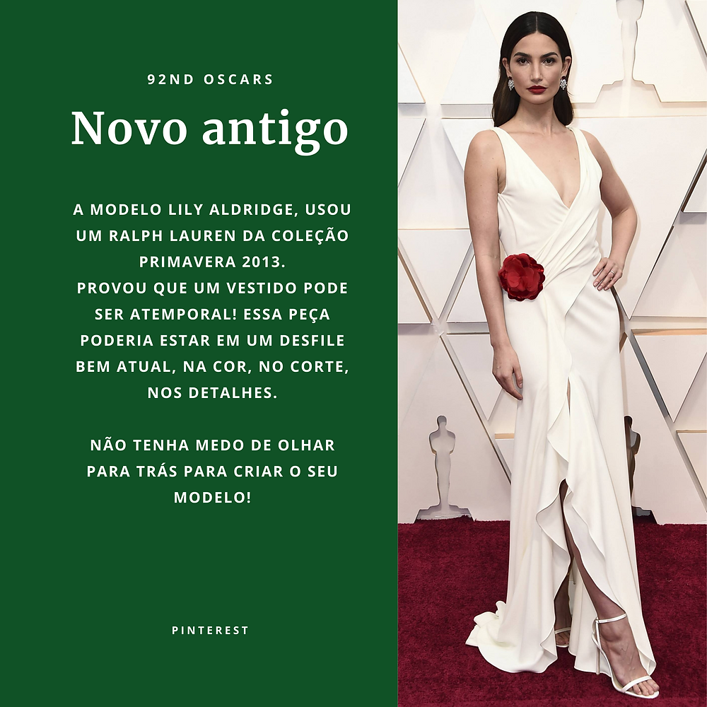 Lily Aldridge usa Ralph Lauren primavera 2013 no Oscar 2020