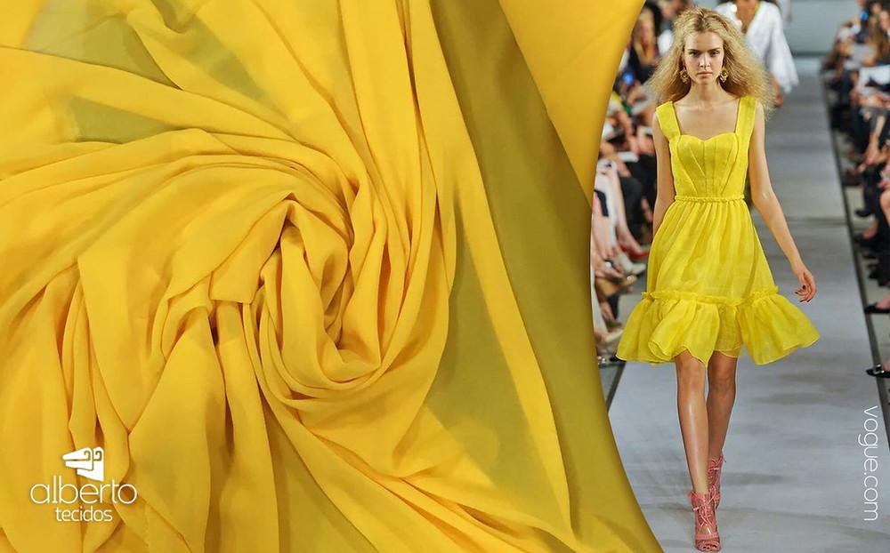 Musseline toque de seda amarelo e inspiração